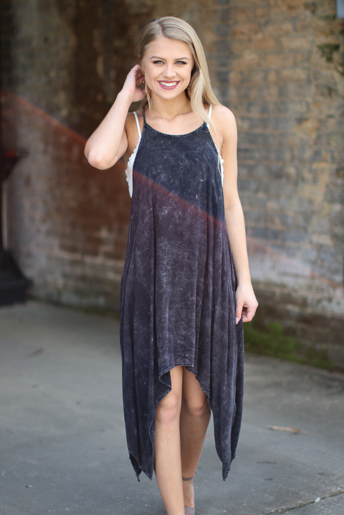 Mineral Wash Sharkbite Hem Dress - Madison + Mallory