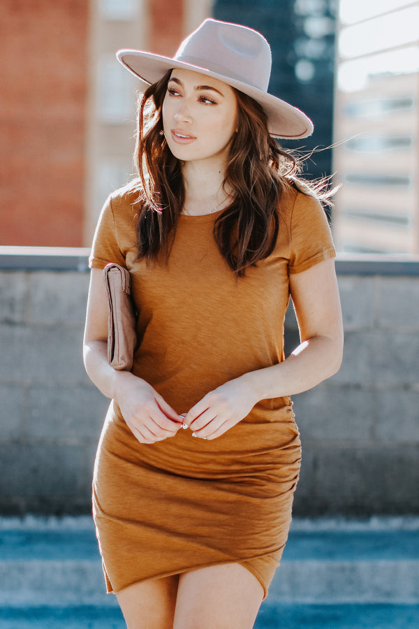 Camel / S No Substitute Ruched Dress - Camel - Madison + Mallory