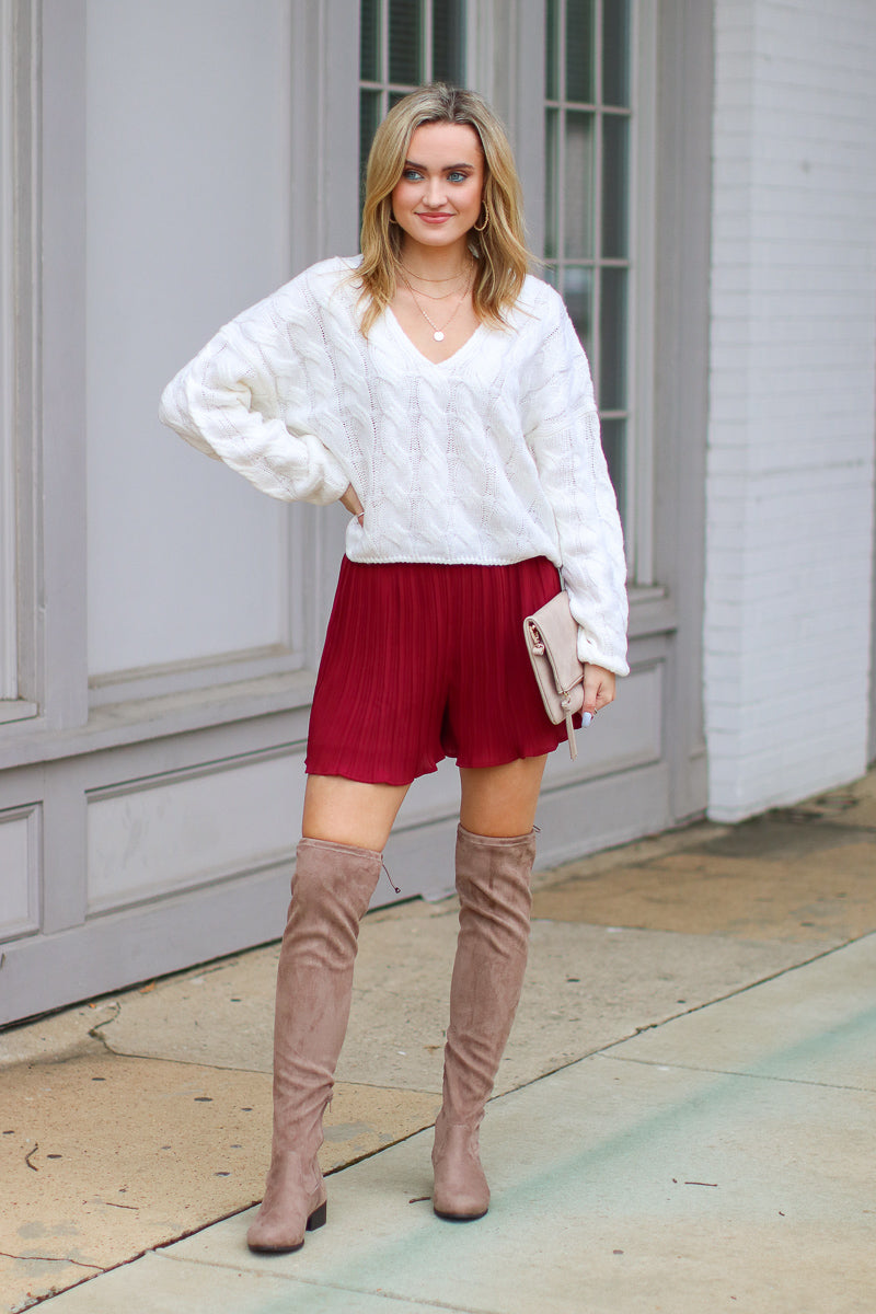 Dance Till Dawn Pleated Ruffle Shorts - Burgundy - FINAL SALE - Madison and Mallory