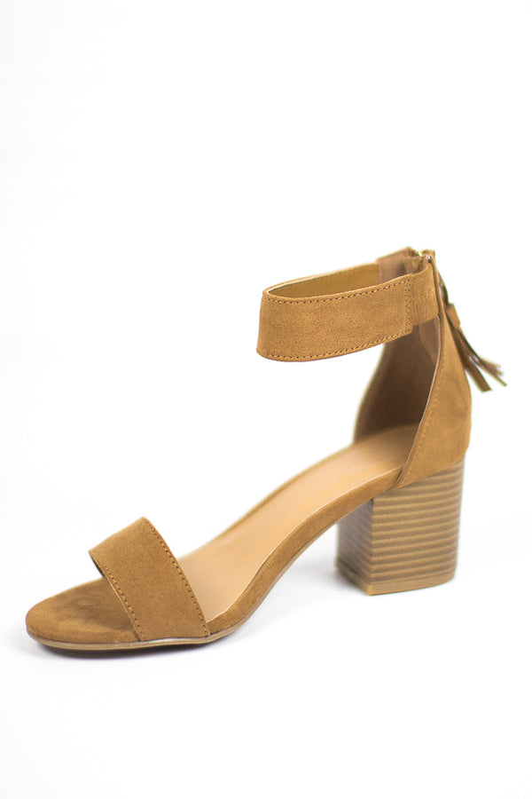 6 / Tan Faux Suede Tassel Trim Heels - Madison + Mallory