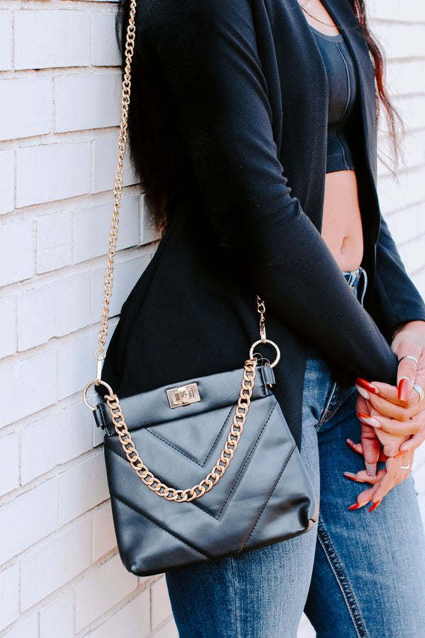 Black Calbira Chain Crossbody Bag - Madison and Mallory