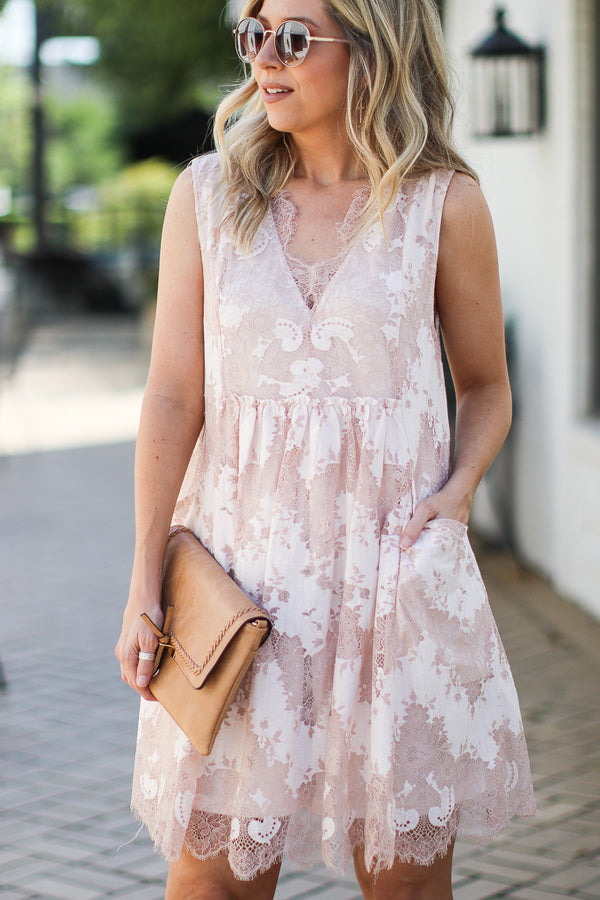 S / Latte Sweet Emotion Floral Lace Dess - Madison + Mallory