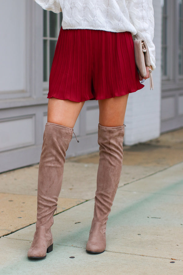 Dance Till Dawn Pleated Ruffle Shorts - Burgundy - Madison + Mallory