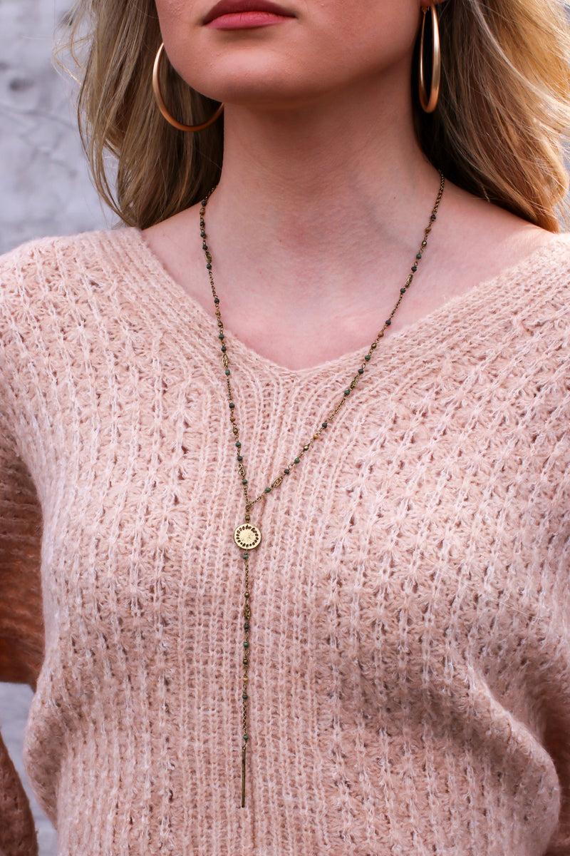 Gold Between Moments Beaded Drop Necklace - Madison and Mallory