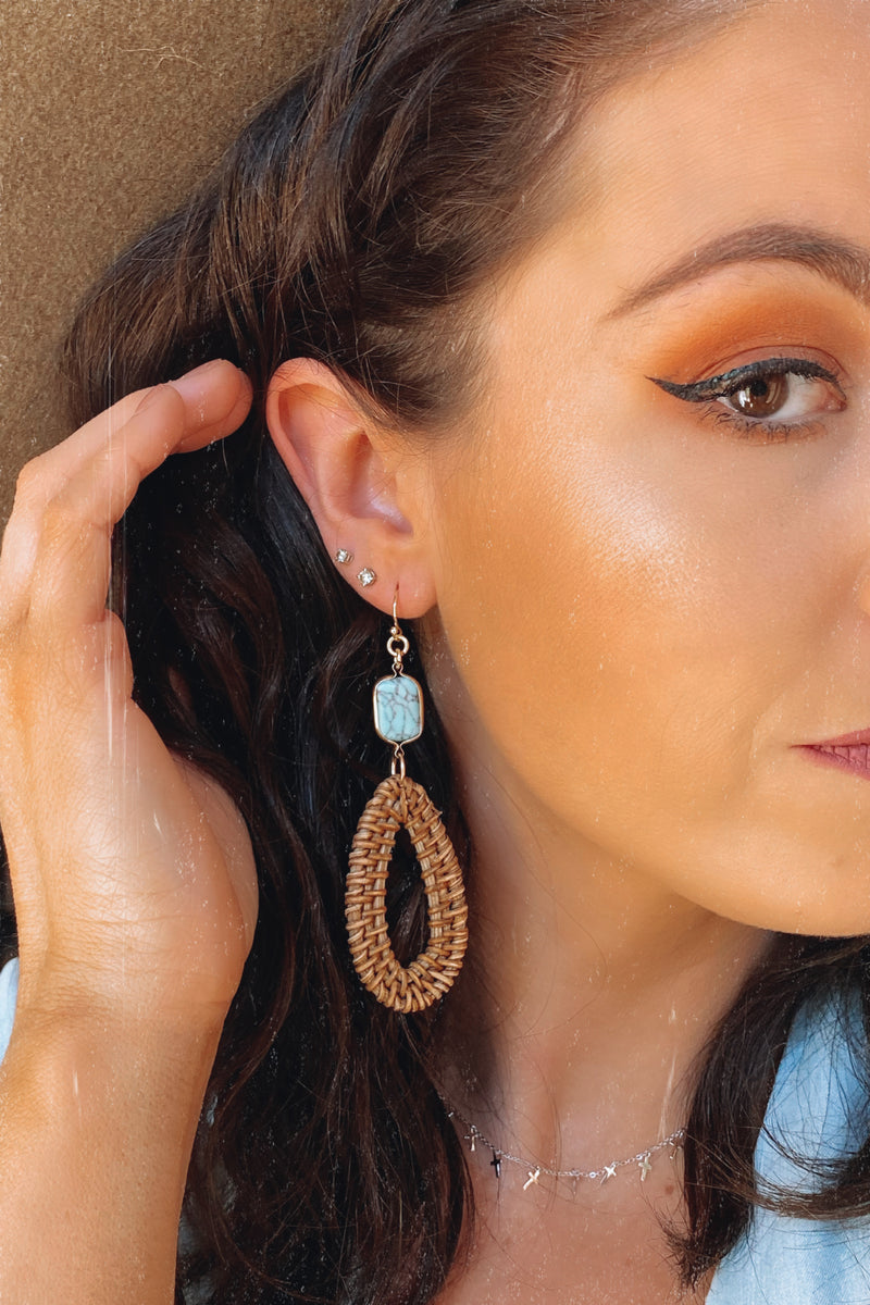 Fenton Straw and Stone Drop Earrings - Madison and Mallory