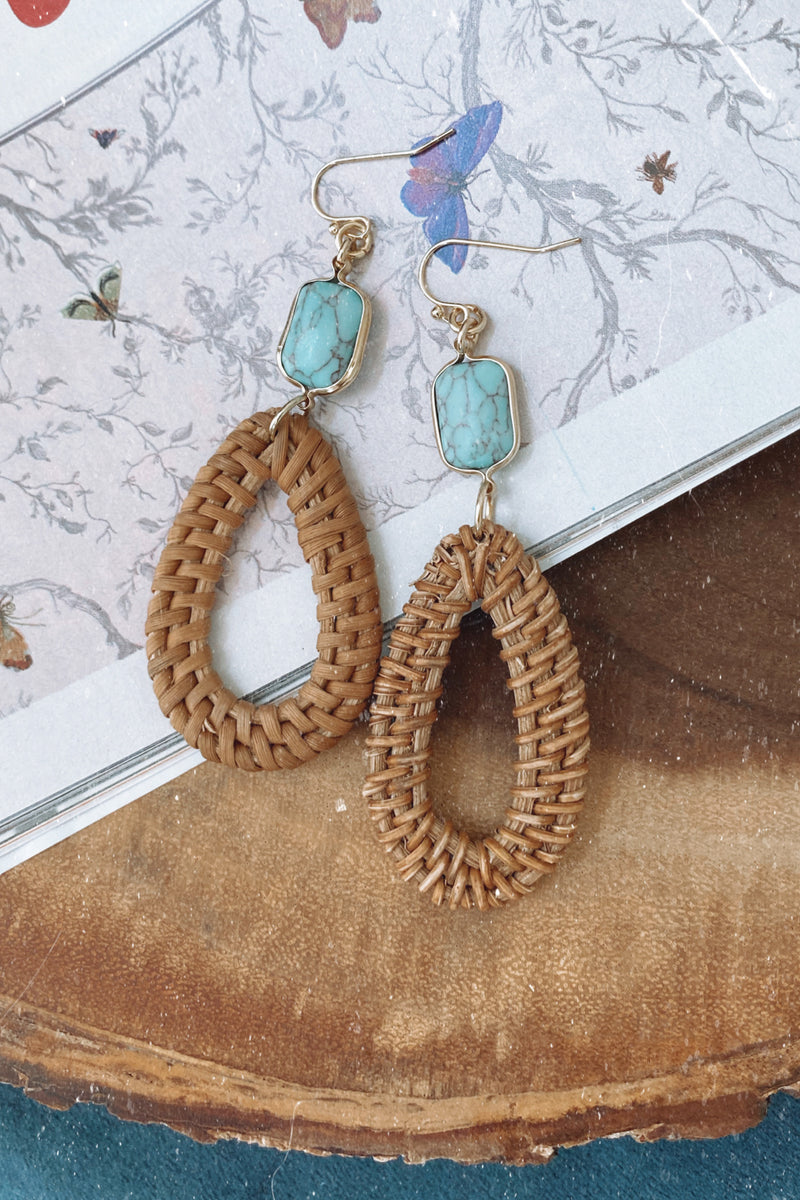 Turquoise Fenton Straw and Stone Drop Earrings - Madison and Mallory