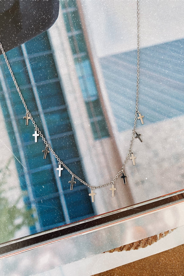 Love is Infinite Cross Drop Necklace - Madison and Mallory
