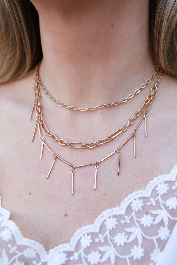 Gold Boulevard Bar Layered Necklace - Madison + Mallory