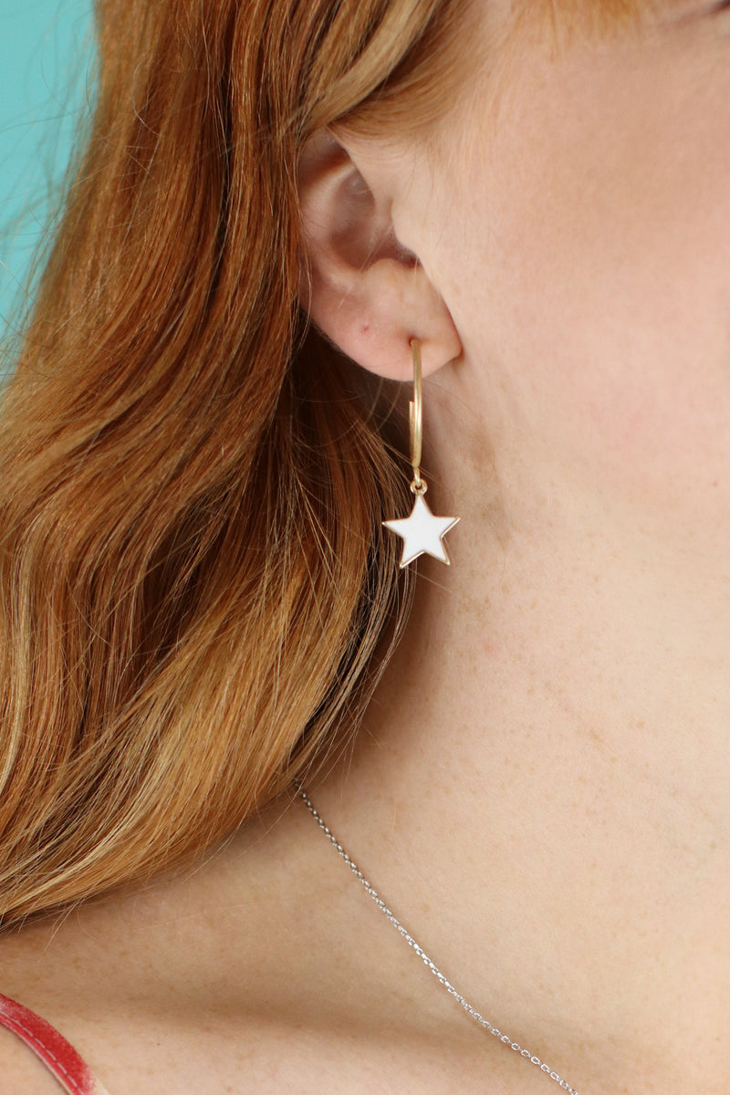 White Fan Girl Star Drop Earrings - Madison and Mallory