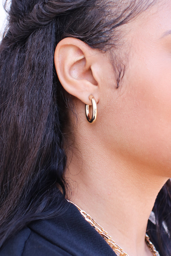 Gold Grateful for the Gleam Hoop Earrings - Madison and Mallory