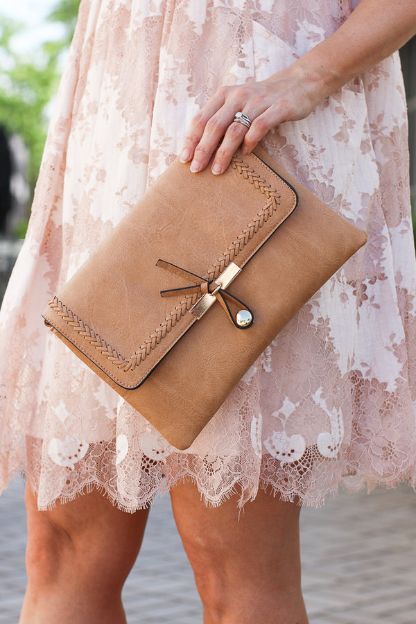 Tan Karma Whipstitch Toggle Clutch - Madison + Mallory