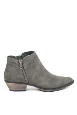 6 / Charcoal/Eagle Side Zip Booties - Madison + Mallory