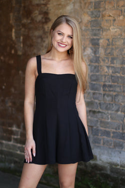 S / Black Lace Up Back Romper - Madison + Mallory