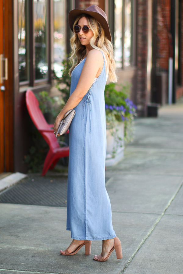 Energetic Rendition Side Tie Denim Jumpsuit - Madison + Mallory