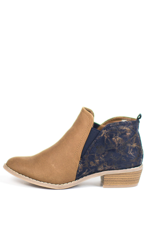 6 / Camel Two Tone Embroidered Floral Booties - Madison + Mallory