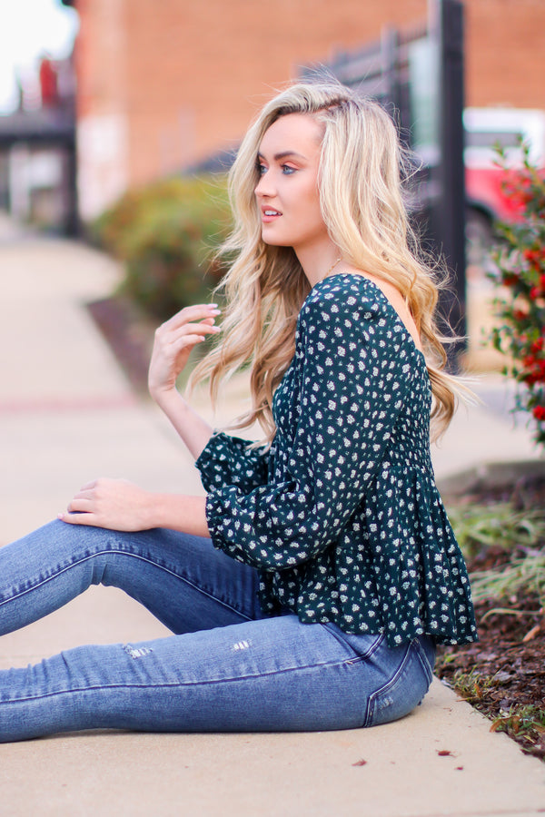 S / Teal Field of View Floral Print Sweetheart Top - Madison and Mallory