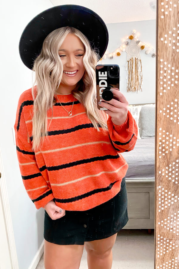 Paprika / S East Village Bubble Sleeve Striped Sweater - Madison and Mallory
