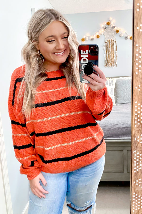 East Village Bubble Sleeve Striped Sweater - Madison and Mallory