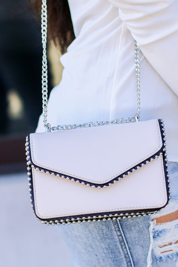Ivory Andy Studded Detail Crossbody - Madison and Mallory