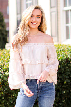 S / Ivory Janette Off Shoulder Tiered Top - Madison and Mallory