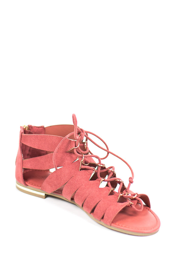 7 / Mauve Lace-Up Flat Gladiator Sandal - FINAL SALE - Madison + Mallory