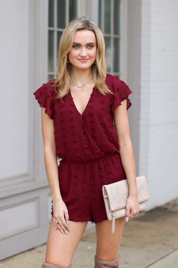 S / Burgundy Alessandra Swiss Dot Romper - FINAL SALE - Madison and Mallory
