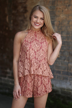 S / Dusty Rose Lace Detail Romper - Madison + Mallory