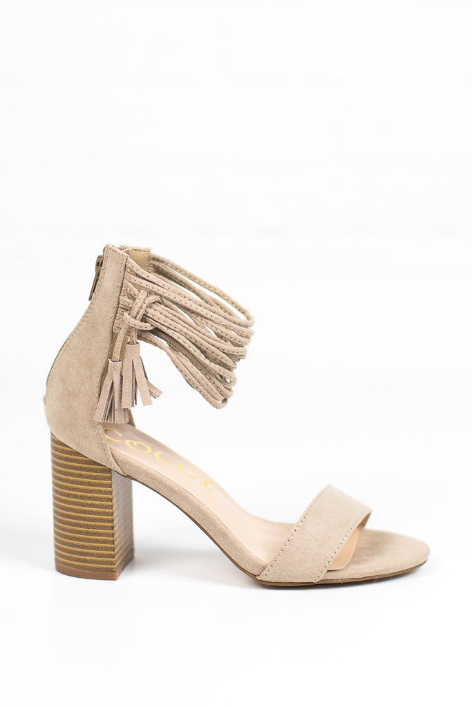 Taupe / 5.5 Tassel Ankle-Wrap Heels + MORE COLORS - FINAL SALE - Madison + Mallory