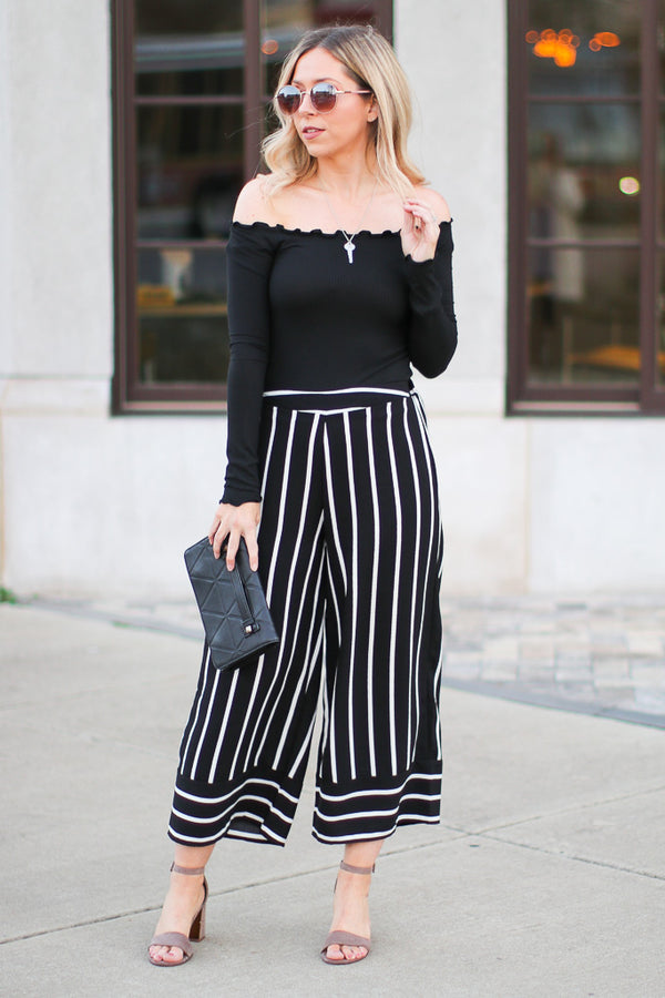 S / Black Tamria Striped Wide Leg Pants - Madison + Mallory
