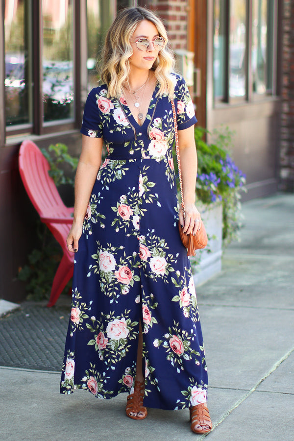 S / Navy Secret Garden Floral Button Front Maxi Dress - Madison + Mallory