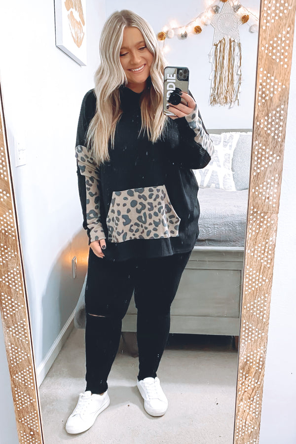 Wildly Cozy Waffle Knit Animal Print Contrast Hoodie - Madison and Mallory