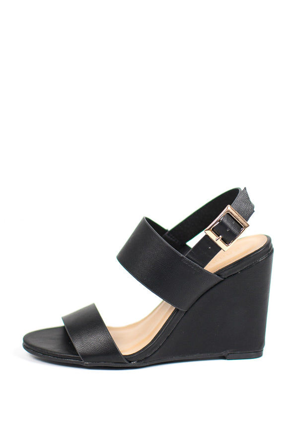 Black / 6 Double Band Wedge Heels - Madison + Mallory