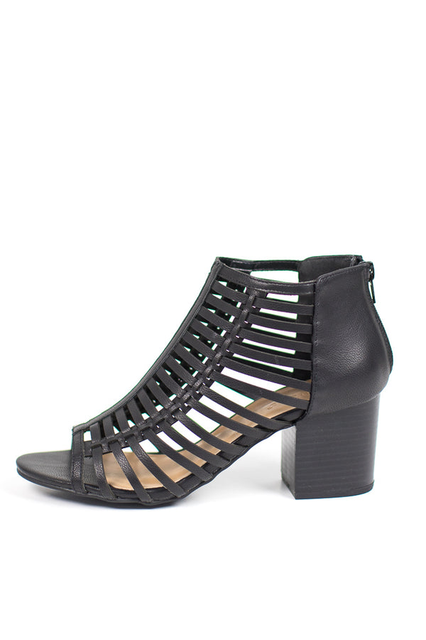 7 / Black Peep Toe Caged Block Heel - Madison + Mallory