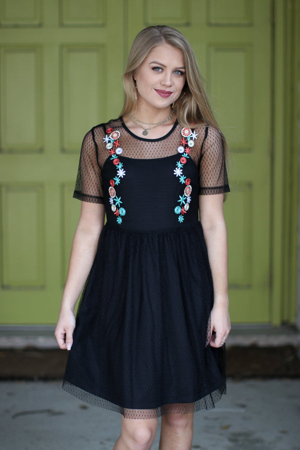 S / Black Mesh Floral Dress - Madison + Mallory