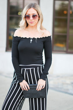 Black / S Alexina Ribbed Off Shoulder Top + MORE COLORS - Madison + Mallory