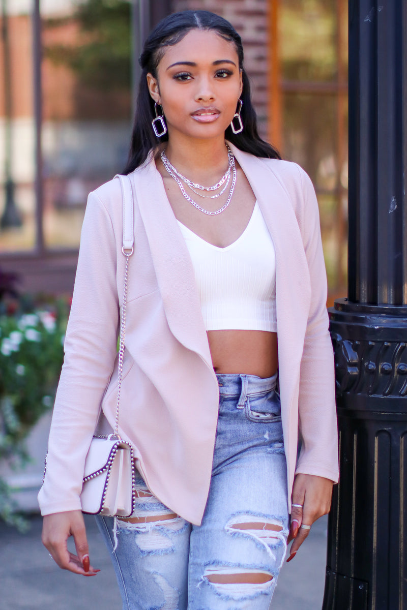 Taupe / S Executive Chic Draped Blazer - Madison and Mallory
