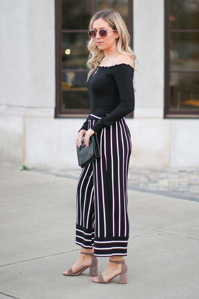 Tamria Striped Wide Leg Pants - Madison + Mallory
