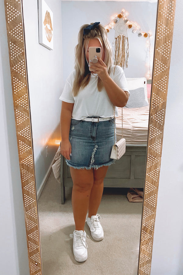 S / Denim So the Story Goes Distressed Denim Skirt - Madison and Mallory