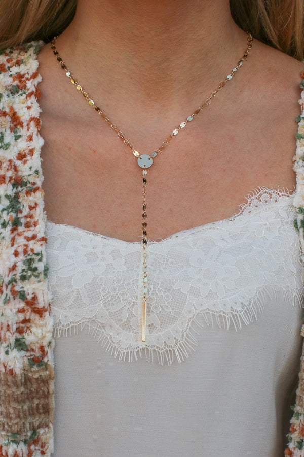 Gold Patience Disc Bar Drop Necklace - Madison and Mallory