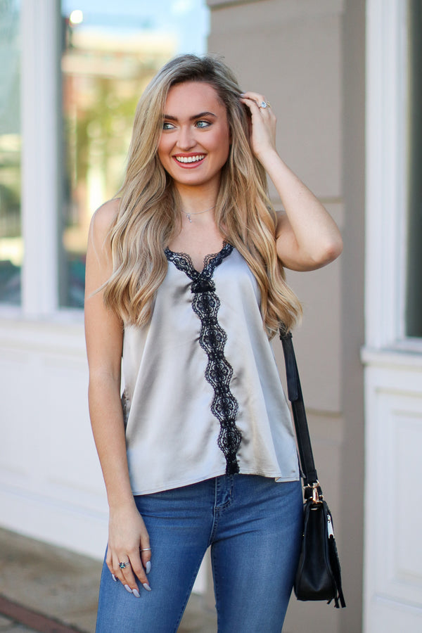 S / Silver Spoken Truth Satin Lace Tank Top - Madison + Mallory