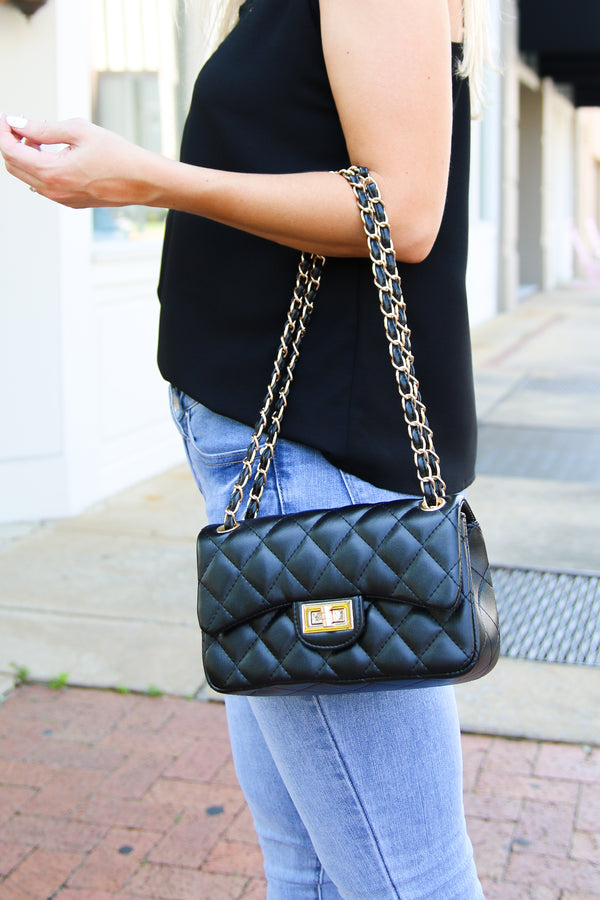 Glam Goal Quilted Chain Bag - Madison + Mallory