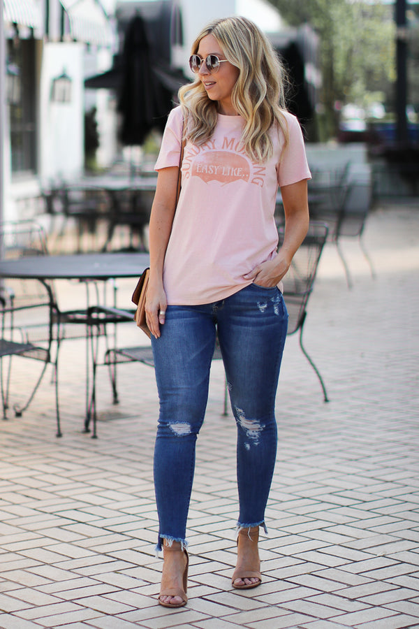 Easy Like Sunday Morning Graphic Top - Madison + Mallory