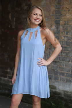 S / Light Blue Periwinkle Cutout Detail Dress - Madison + Mallory