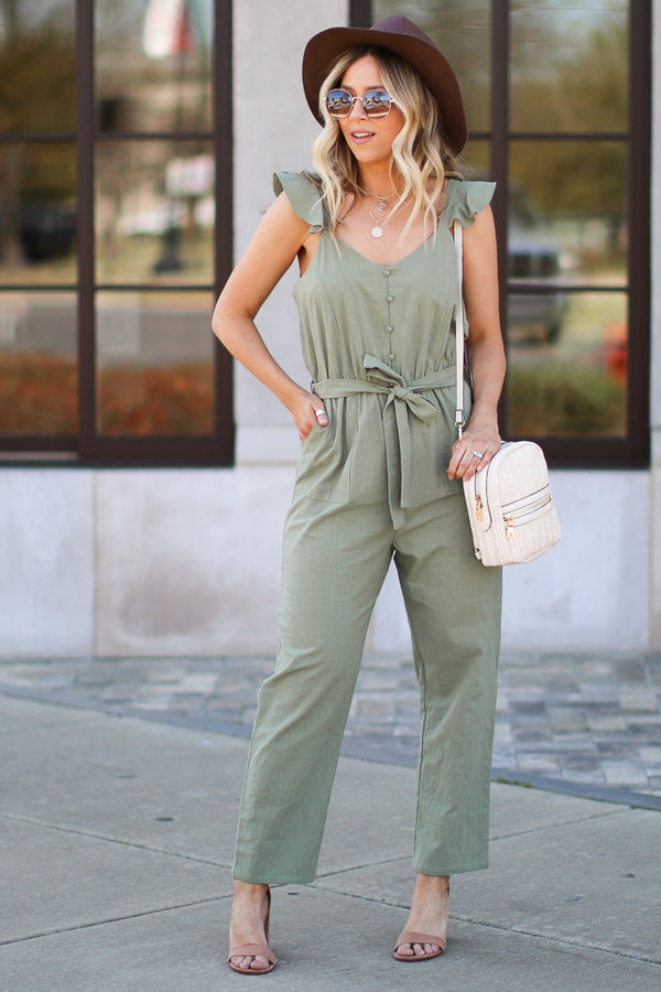 S / Olive Life is a Journey Jumpsuit - Madison + Mallory