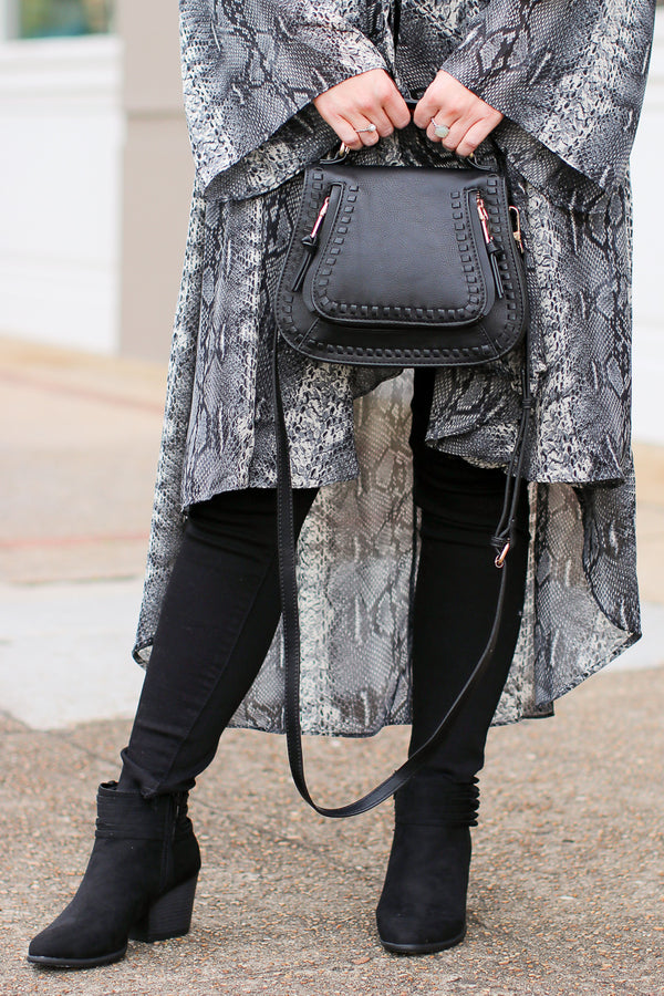 Black Colby Whipstitch Crossbody Bag - Black - Madison + Mallory