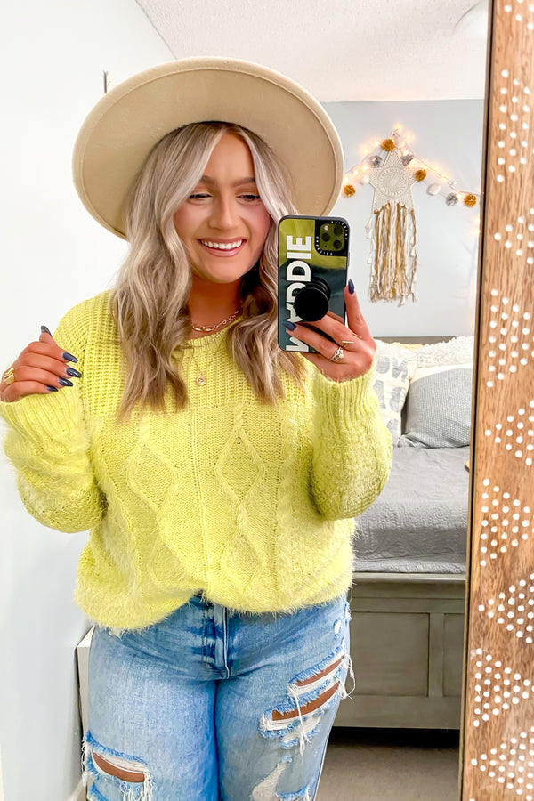 S / Lemon Vilma Cable Knit Contrast Sweater - Madison and Mallory