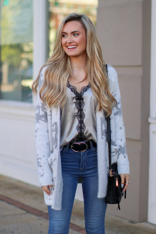 S / Gray Madison Marble Knit Cardigan - FINAL SALE - Madison and Mallory