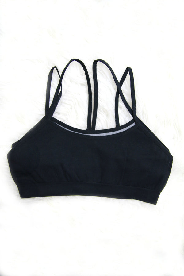 XS/S / Black Two Layer Sports Bra + MORE COLORS - Madison and Mallory