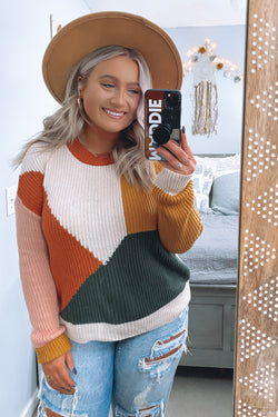 S / Rust Lorin Color Block Crew Neck Sweater - Madison and Mallory