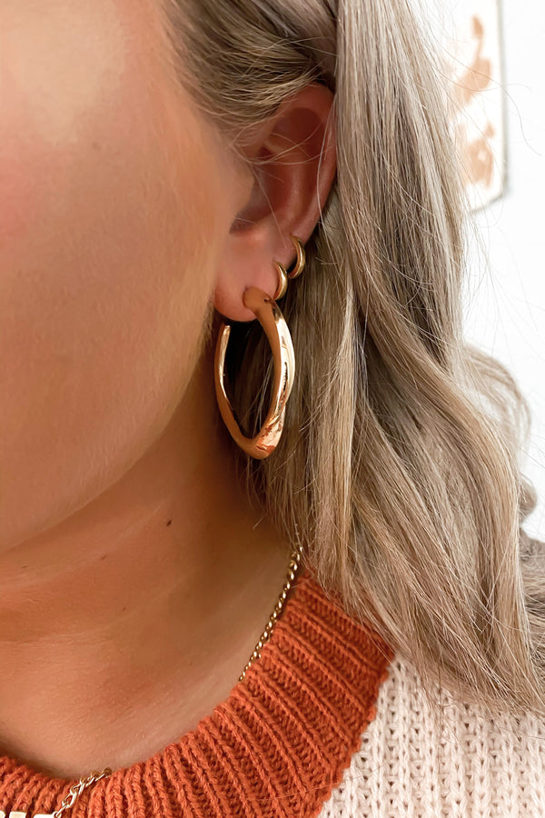 Gold Junipero Organic Shape Hoop Earrings - Madison and Mallory